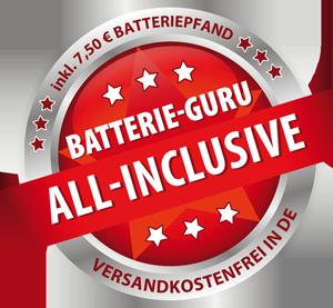 inkl. 7,50€ Batterie-Pfand und Versandkosten (nur innerhalb Deutschlands)